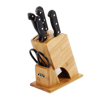 New Bamboo Knife Holder Multifunctional Cutlery Wood Knife Rest Rack Storage Block Ventilated Dry Knife Stand Knife Block