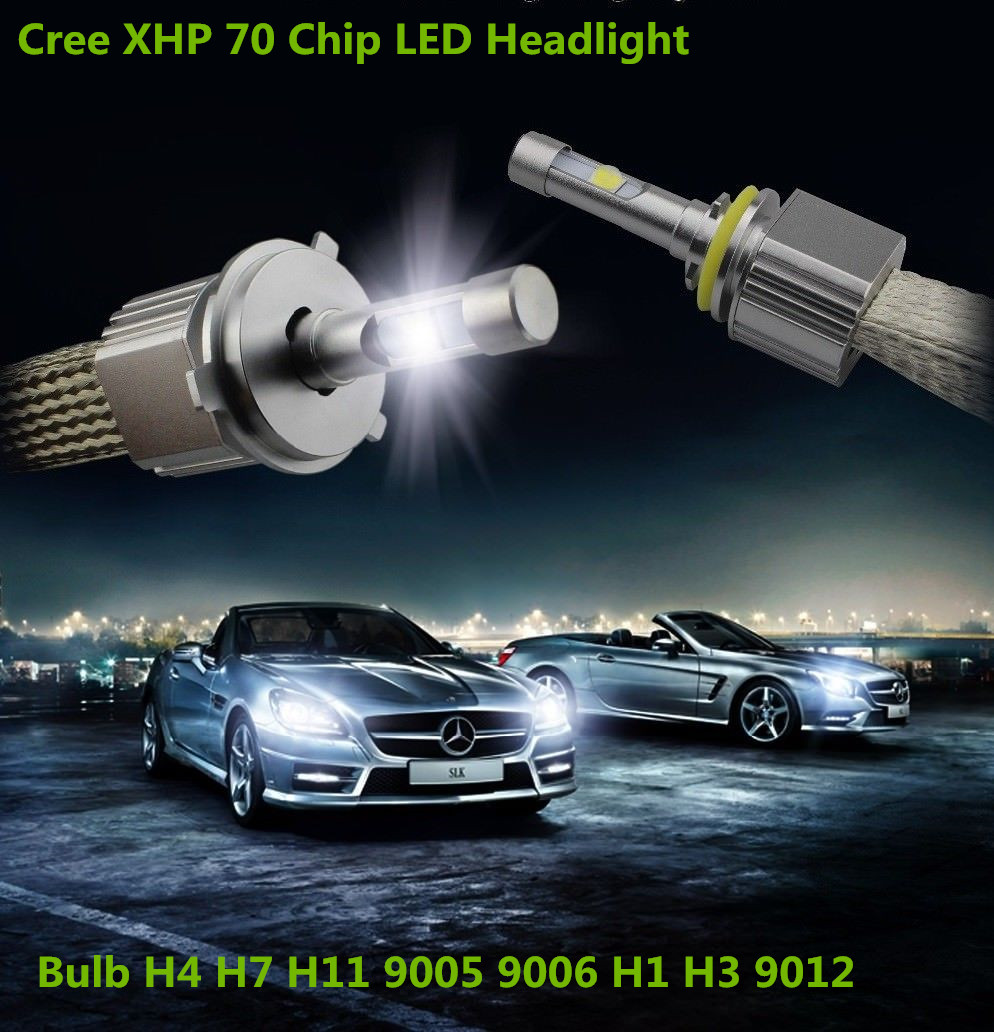 Pair Powerful P70 H4 H7 H11 H1 9005 9006 9012 13200lm 110W Cree XHP70 chips Car LED Headlight Bulbs Kit with 4300k 6000k 8000K anmingpu 2pcs 12000lm pair headlight bulbs h4 h7 led headlights h11 9005 9006 9004 9008 h1 led with cree chips 6000k car lights
