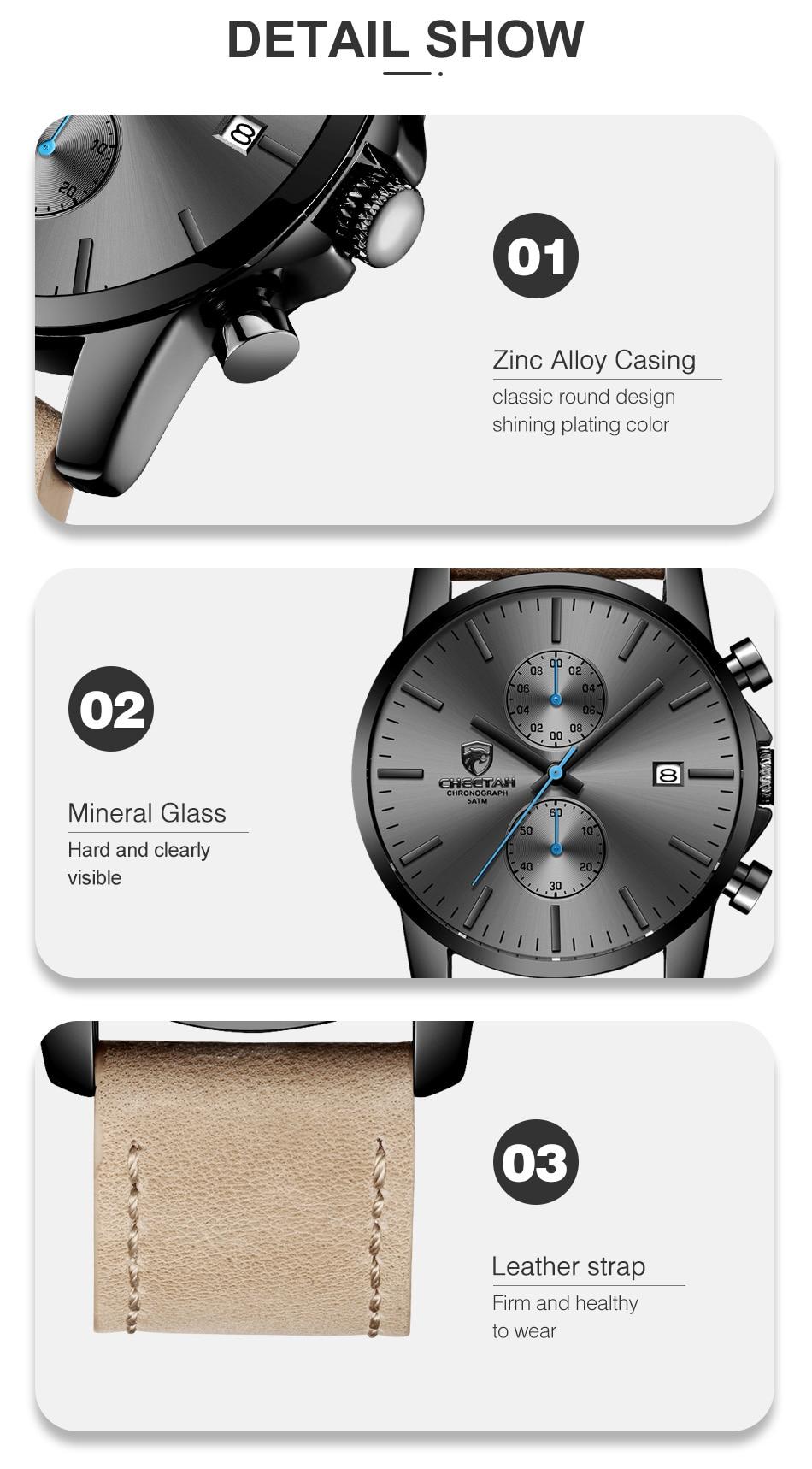 2019 Men Watch CHEETAH Brand Fashion Sports Quartz Watches Mens Leather Waterproof Chronograph Clock Business Relogio Masculino