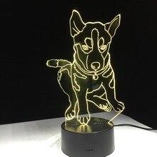 Husky Dog 3D светодиодный светильник 7 цветов освещение детская прикроватная тумбочка для сна стол моделирование USB изменение Ночник декор подарки