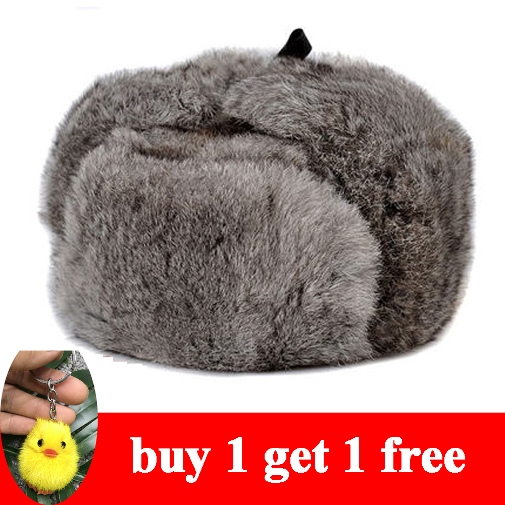 RY996 Rabbit Fur Cap Man Winter Genuine 100% Fur Bomber Hat With Warm Earmuffs Male Flat Grey/Black Russian Hat Fitted Casquette(China)