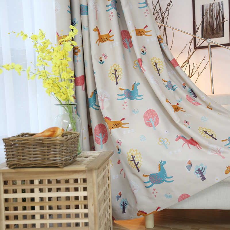 High Quality Cartoon Animal Tree Flower Printed Blackout Curtains for Kids Room Girls Boys Baby Bedroom Window Curtains Drapes