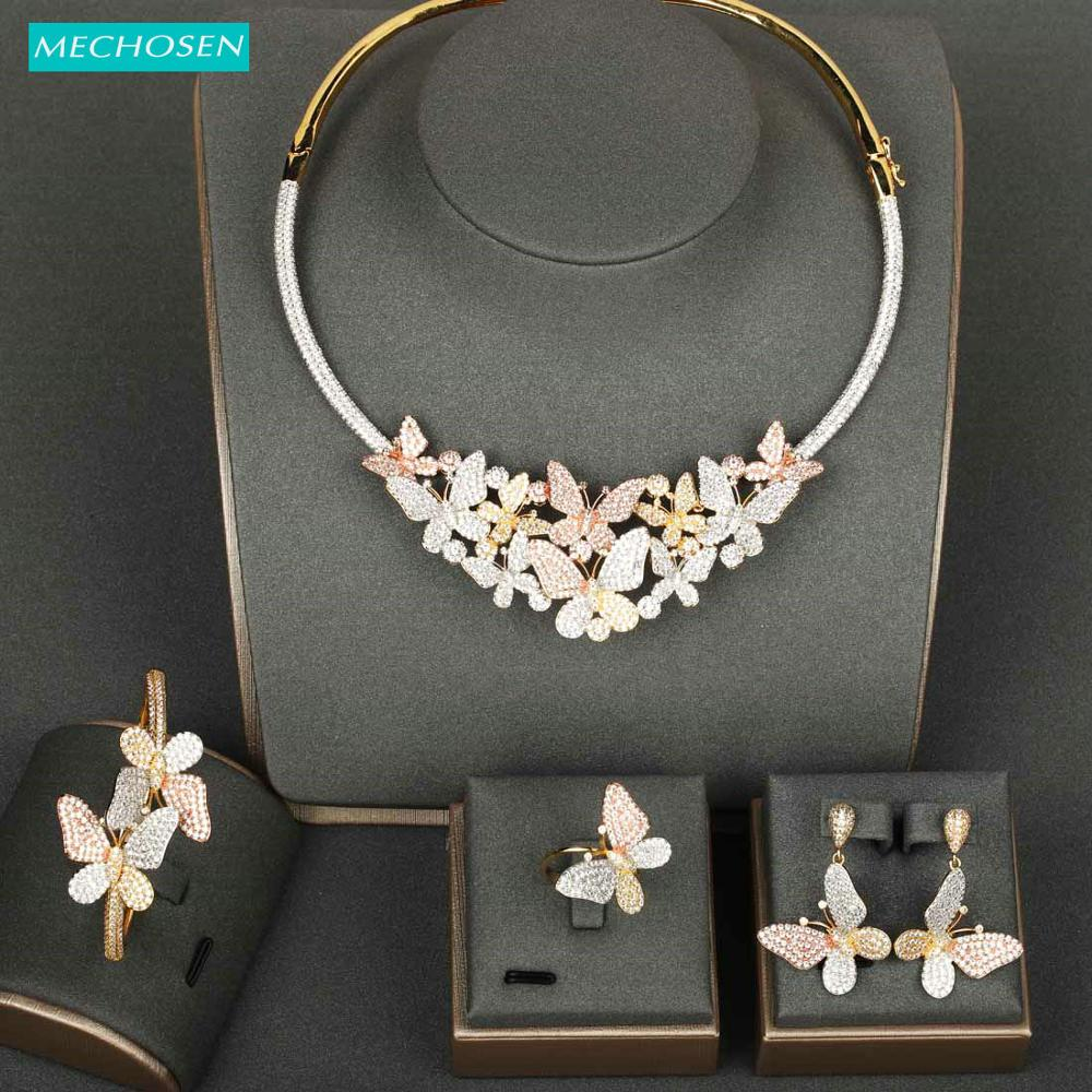 MECHOSEN 3 Tones Luxury Butterfly 4/PC Sets Exquisite Zircon Necklace Bangle Ring Earrings Bridal Wedding Sets Dubai Style Gifts