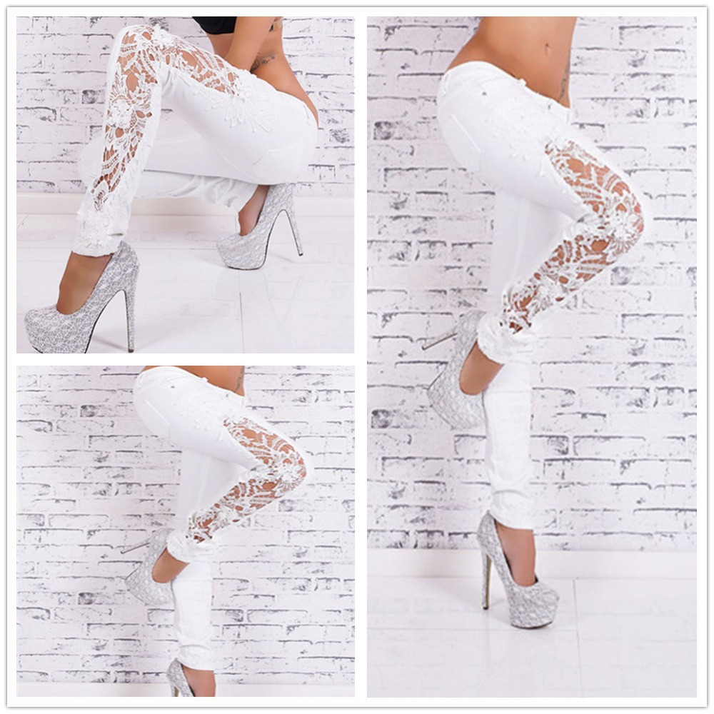 White   Jeans   With Lace Hollow Out Lace Stitching Full-Length Denim Slim Skinny Pencil Low Waist Pants Women Fashion Sexy   Jeans