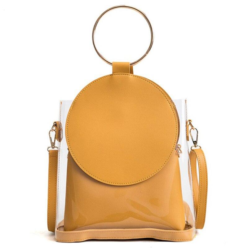 New Fashion Women Famous Design Handbag Pu Leather Crossbody Shouder Bag 2pcs/set Round Adjustable Strap Bag Female Bolsa
