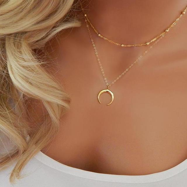 a0d4a984a الذهب القرن مزدوجة الطبقات سلسلة قلادة فضة الهلال القمر قلادة المختنق قلادة  بوهيميا بوهو مجوهرات ضئيل
