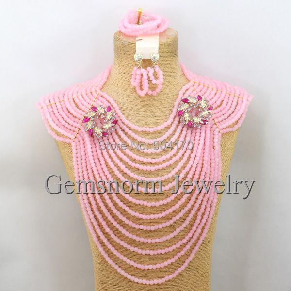 Fabulous African Beads Jewelry Set Nigerian Wedding Crystal Jewelry Set Full Beads Costume Jewelry Set Free Shipping GS930