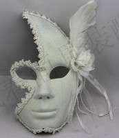 Venetian Mask Masquerade Mask Princess Flower Lace Plus Men And Women Feather Full Face Mask White