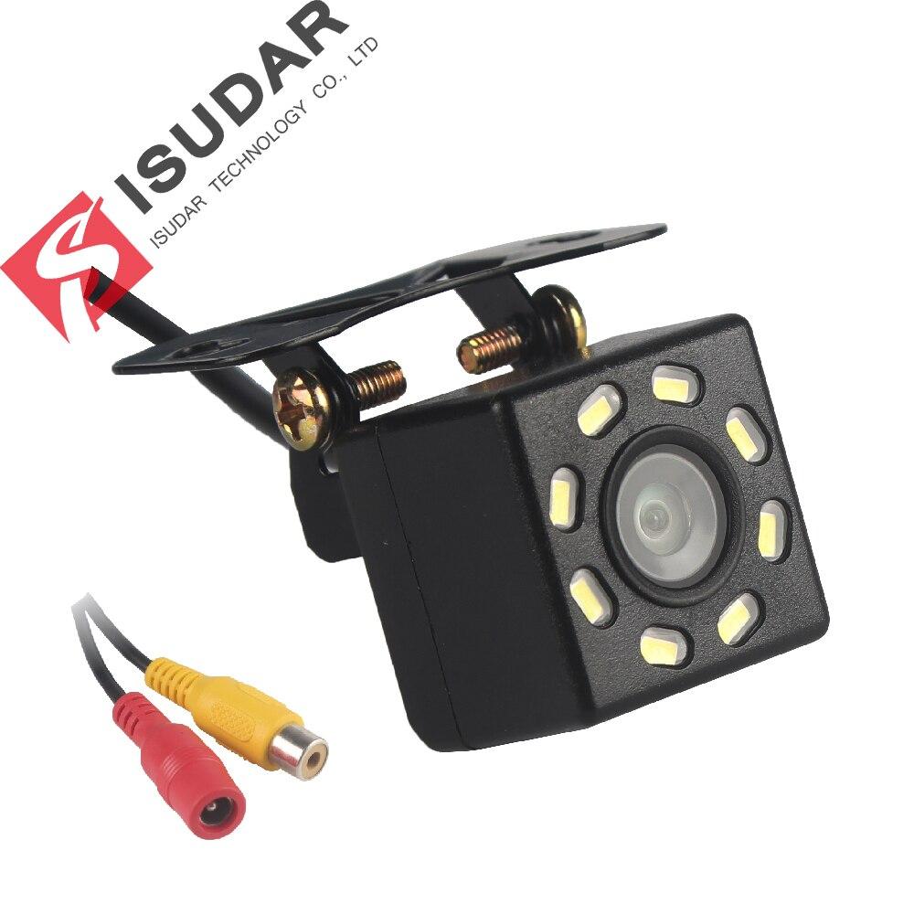 كاميرا الرؤية الخلفية للسيارة من ايسودار كاميرا احتياطية عالمية لركن السيارة 8 LED رؤية ليلية مضادة للماء 170 زاوية واسعة HD صورة ملونة