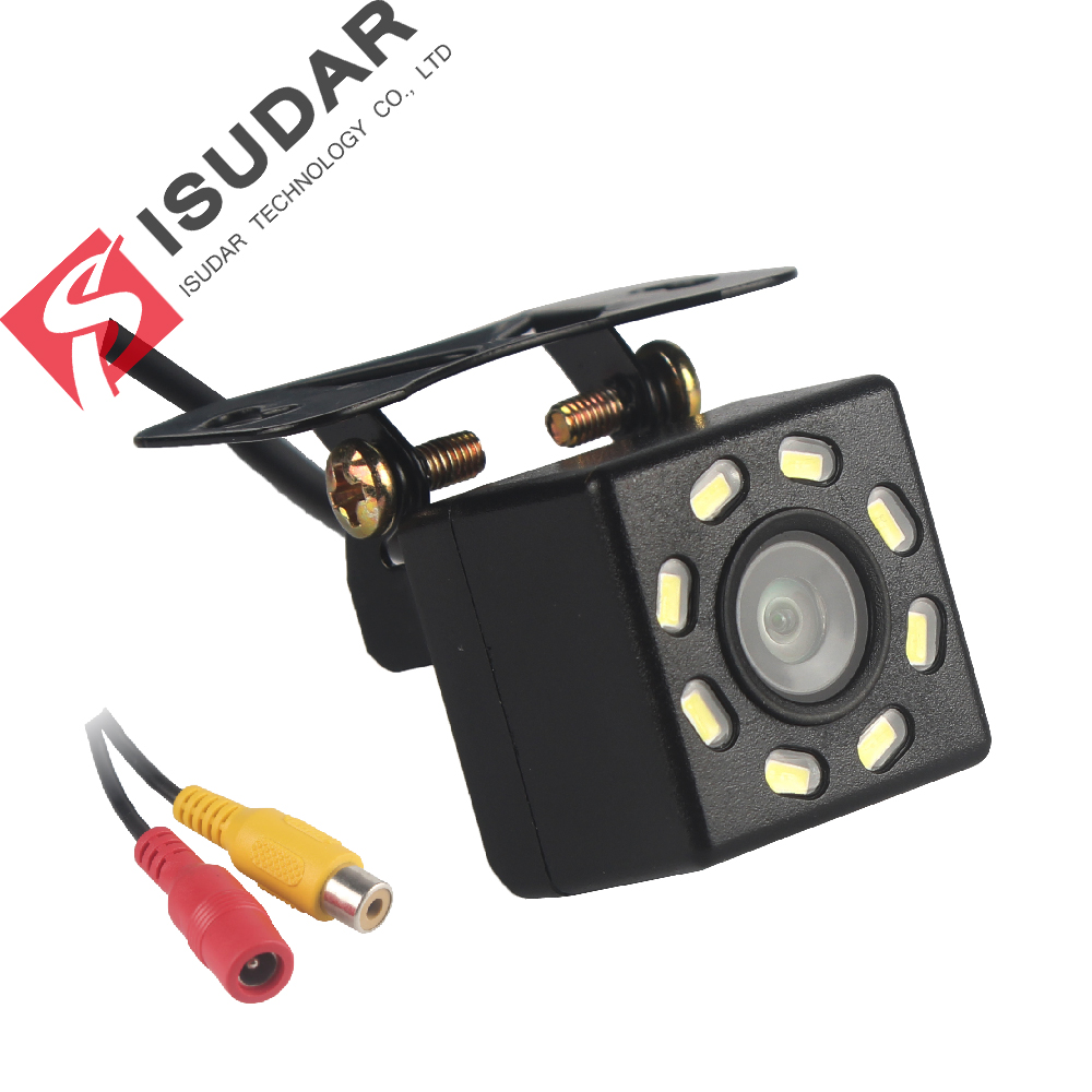 Isudar Auto Achteruitrijcamera Universal Backup Parking Camera 8 LED Nachtzicht Waterdichte 170 Groothoek HD Kleur Afbeelding