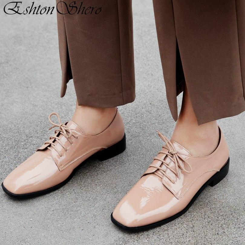 Ayakk.'ten Kadın Pompaları'de EshtonShero Bahar kadın ayakkabısı Kadın Pompaları Rugan Düşük Topuklu Slip Kare Ayak Klasik Bayanlar Düğün Ayakkabı Boyutu 3 11'da  Grup 1