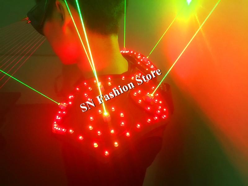 T16 Colorful light ballroom laser vest dj laser costumes dance wears laser glasses red laser suit led clothes shoulder led vest 23