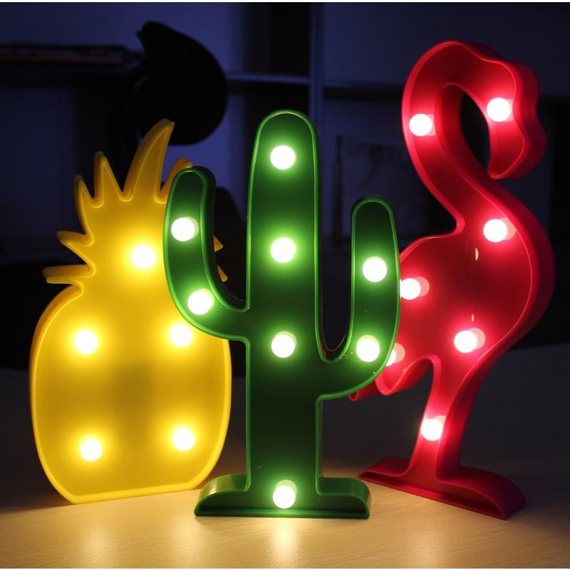 Lovely LED Night Light Baby Kids Luminaria Flamingo Cactus Pineapple 3D Lamp Letter Light Battery Home Decor Table Lamp Light 3d table lamp luminaria led night light