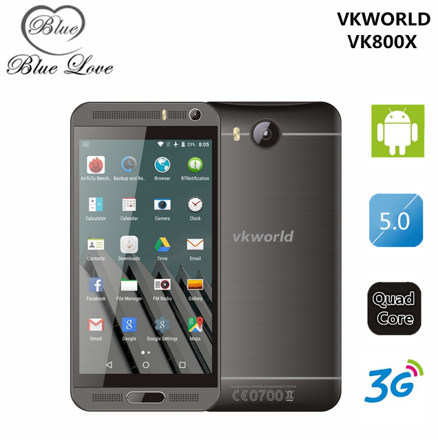 Original 5.0 inch IPS Android 5.1 Mobile Phone MTK6580 Quad Core 1GB RAM 8GB ROM WCDMA Dual Sim Smartphone Vkworld VK800X