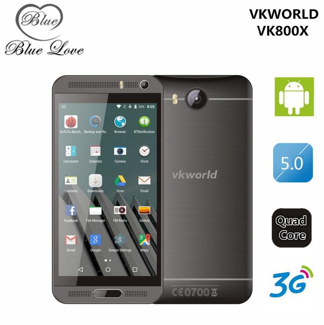 Original 5.0 pulgadas IPS Android 5.1 Teléfono Móvil MTK6580 Quad A Core 1 GB RAM 8 GB ROM WCDMA Dual Sim Smartphone Vkworld VK800X