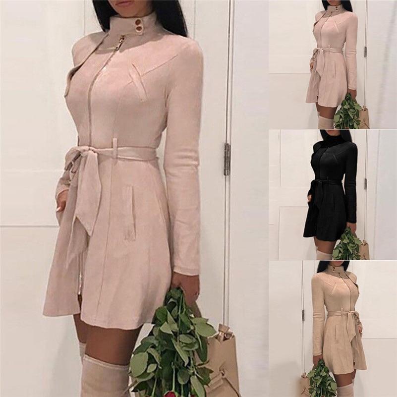 2018 New Winter Autumn Fashion Women   trench   Solid Turtleneck   trench   Zipper Bow Bandage Windbreaker Long Coat Overcoat #SA