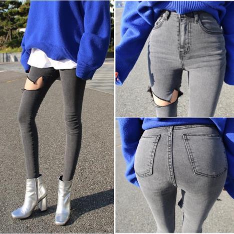 Moda Pantalones Piernas Elásticos De Con Pengpious Blanqueados Ceñidos Vaqueros Nuevos Agujeros Mujer qtd1vd