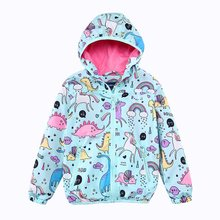 Kids Clothes Hooded Children Coat Jacket Unicorn Windbreaker 2018 Spring Girls Jackets Animal Print Boy Jacket Causal Girl Coat(China)