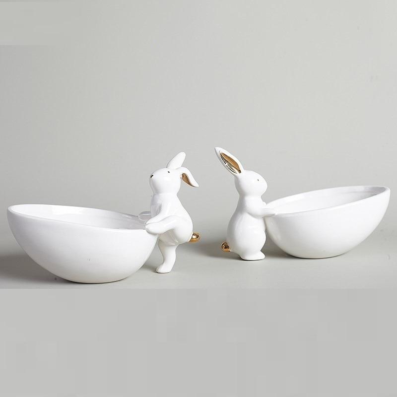 Plaque de fruits en céramique décoration plateau de rangement lapin plaque de collation créative plaque de bijoux R379