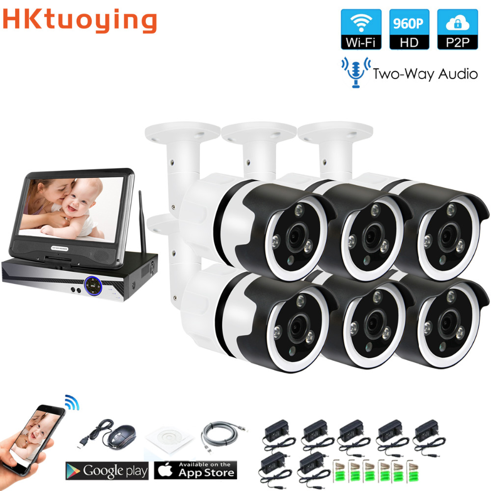 6CH two way audio talK HD Wireless LCD NVR Kit P2P 960P Indoor Outdoor IR Night Vision Security 1.3MP IP Camera WIFI CCTV System6CH two way audio talK HD Wireless LCD NVR Kit P2P 960P Indoor Outdoor IR Night Vision Security 1.3MP IP Camera WIFI CCTV System