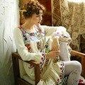 ЛИНЕТТ CHINOISERIE Зима Оригинальный Дизайн Женщин Высокого Качества Вышивки цветы тонкие шерстяные flare рукавом свободные платья