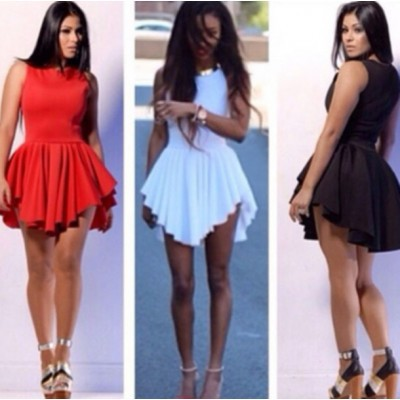 knee <font><b>dress</b></font> sexy club beach casual party elegant red white black sundress sleeveless prom streetwear pleated 2018 summer image