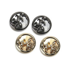 2 Pcs Beautiful Rhinestones Decorated Buttons High Quality Metal Buttons for Overcoat Mink Coat Decoration Sewing Buttons Supply(China)