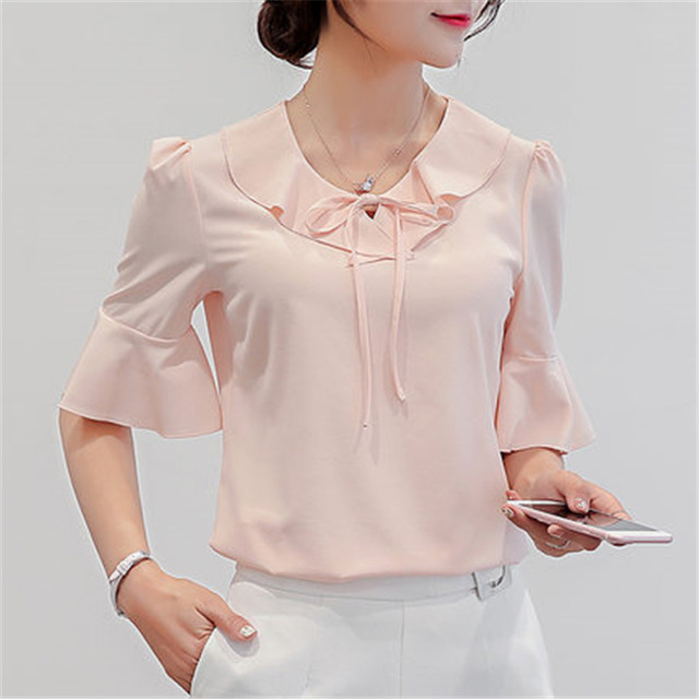 14bb4aa3e796 Women Summer Tops 2018 Plus Size Short Sleeves Ruffled Feminine Blouses  Loose Fashion Chiffon Blouse For Women Office Shirt 3837