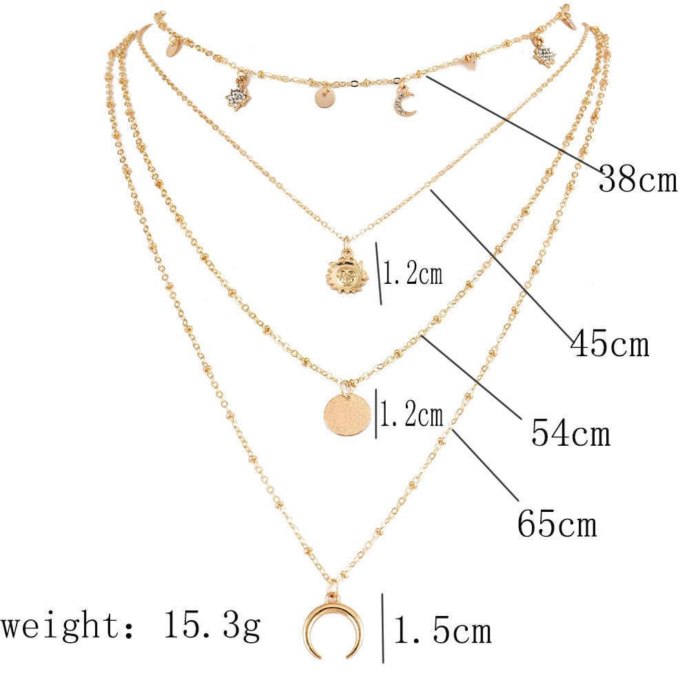Vintage Multilayer Kristall Anhänger Halskette Frauen Gold Farbe Perlen Mond Sterne Horn Crescent Choker Halsketten Schmuck Neue