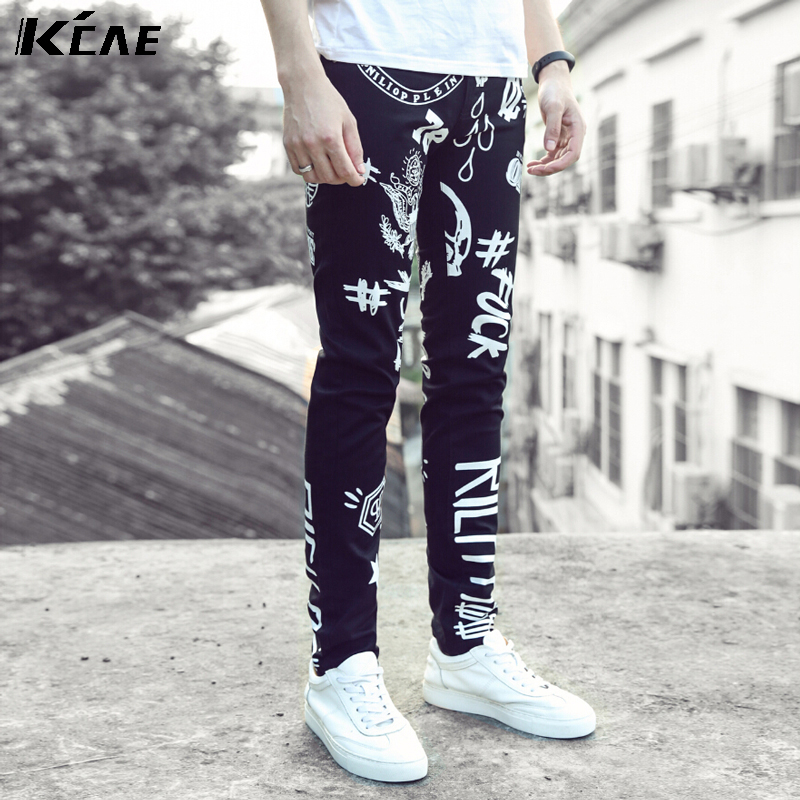 ФОТО New Arrival Men Pattern printed Jeans Men Famous Brand Fashion Style Male Casual Denim Jeans Men