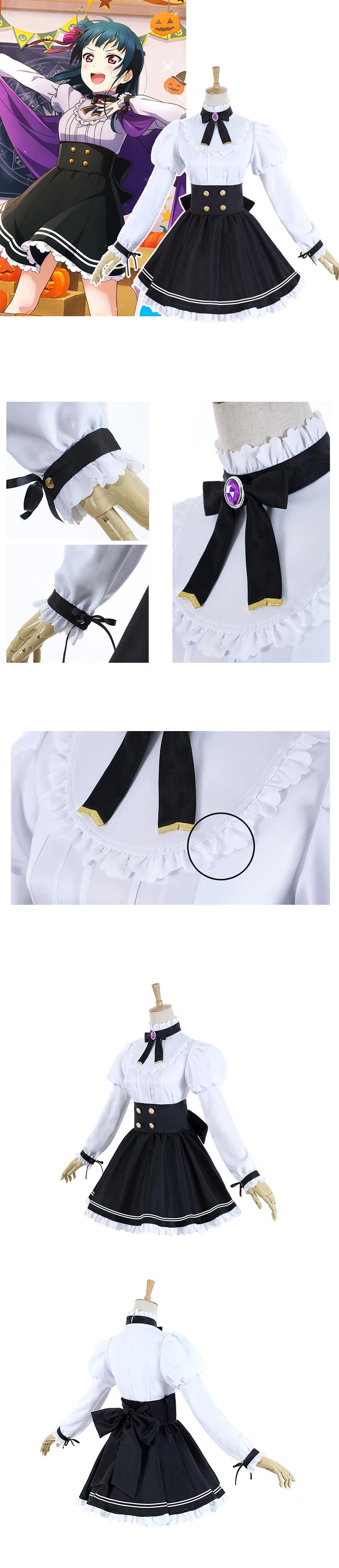 Anime Cosplay Anime Lovelive Sunshine Aqours Tsushima Yoshiko Halloween Unawaken cosplay costume lolita dress school uniform (6)