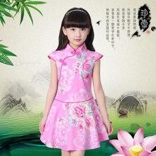 Платья для маленьких девочек, лето 2018, детские платья для девочек, китайское платье Ципао с цветами, Детская традиционная китайская одежда