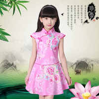 Vestidos de verano para niñas, vestidos infantiles para niñas, Cheongsam chino con flores, prendas chinas tradicionales, 2018