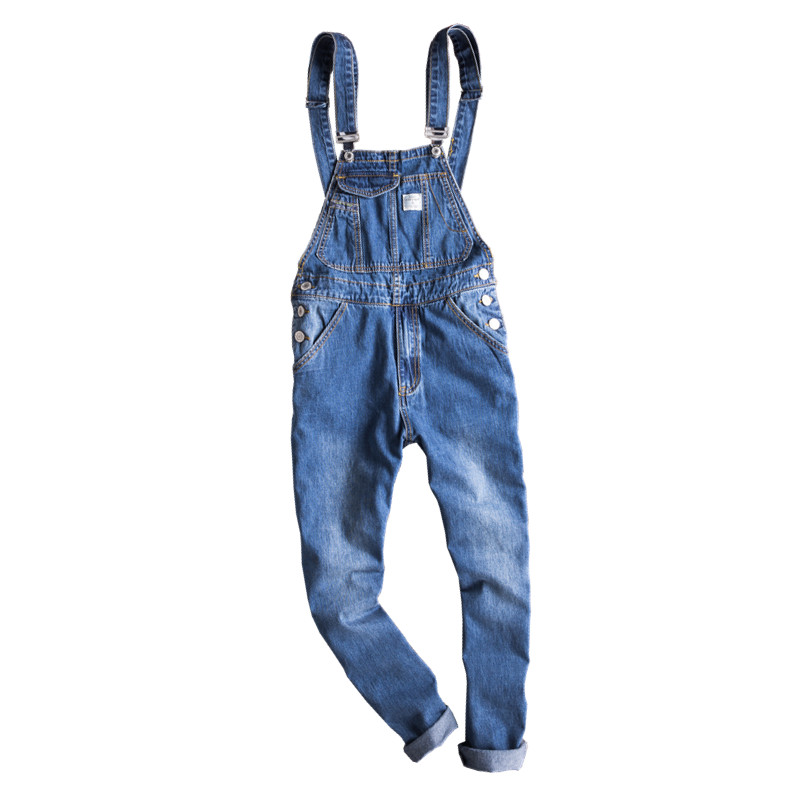 Japan Fashion Blue Denim Overalls Slim Men Bib Overalls Hip Hop Mens Jeans Suspender Pants Ankle Length luis onofre осенние сапоги с богатой фурнитурой из черненого серебра luis onofre