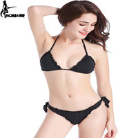 EONAR Bikinis 2018 Women Swimwear Ruffle Bandage Swimsuit Black Brazilian Bikini Set Adjustable Bathing Suit Triangle