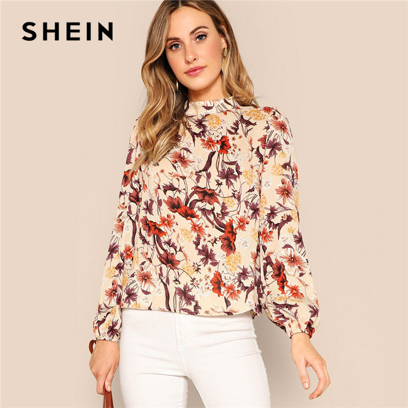 SHEIN Office Lady Elegant Floral Print Mock Stand Collar Keyhole Back Blouse Spring Highstreet Women Tops And Blouses