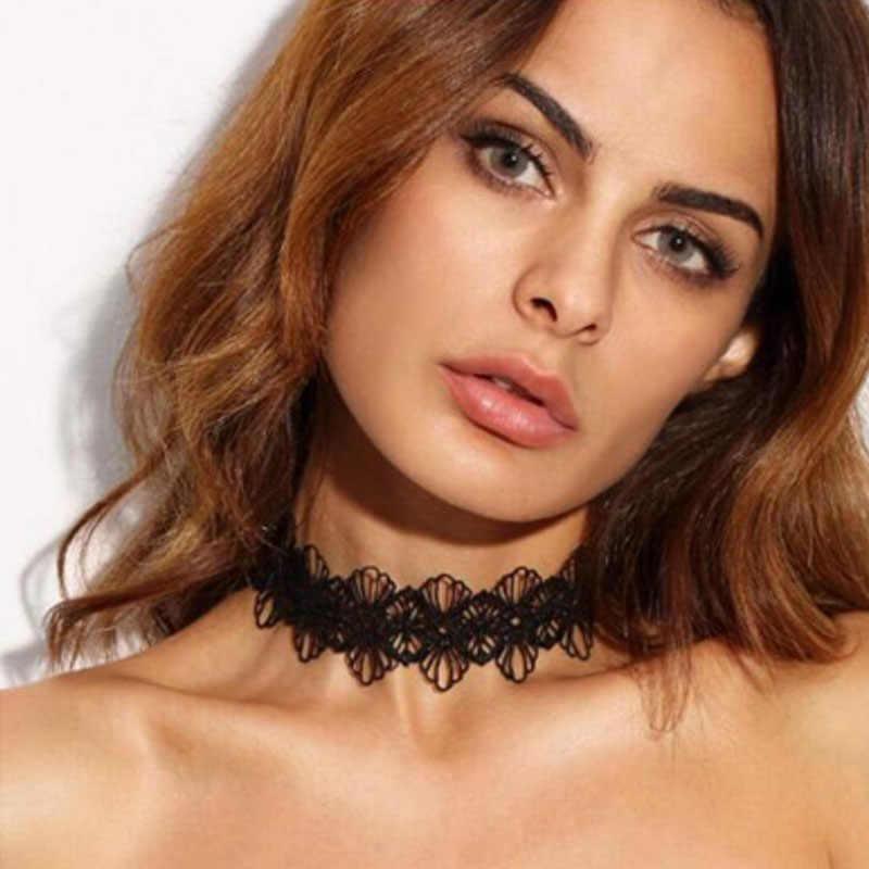 Nowy Gothic czarne koronkowe skórzane aksamitne tatuaż Choker naszyjniki dla kobiet kołnierz strona biżuteria akcesoria szyi Chokers Collares