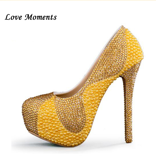 Love Moments pearl crystal wedding shoes round toe handmade bridal shoes  normal dress party shoes 8cm 11cm 14cm heel big size c5ef770176c5