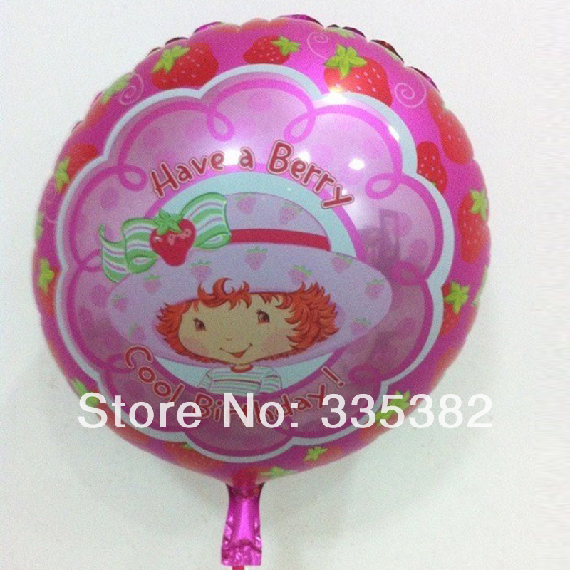 New 18inch round Cool BIRTHDAY balloons for girl birthday party strawberry girl