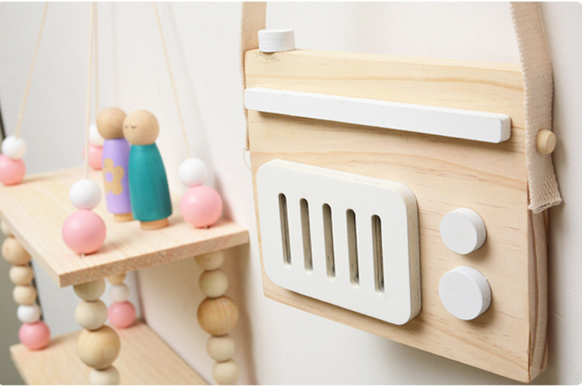 1pc Hanging Wooden Radio Camera Toys Kids Toys Gift 17*11cm Room Decor Furnishing Articles Christmas Gifts For Kid Wooden Toy