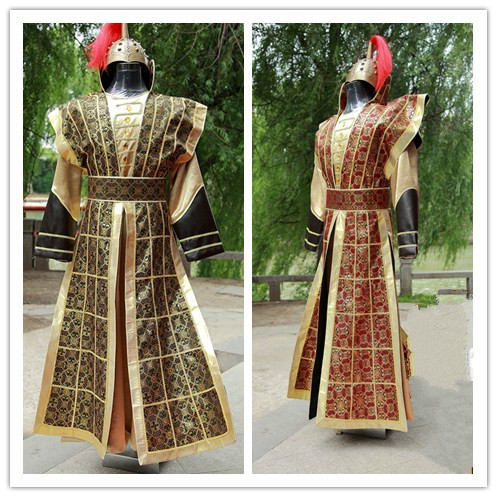 Chinese National Hanfu Yellow Red Ancient China Costume Hanfu Men Clothing Traditional National Tang Suit Stage Cosplay Costume 2017 autumn kids costume girls hanfu stage clothing photography costume song of the goose