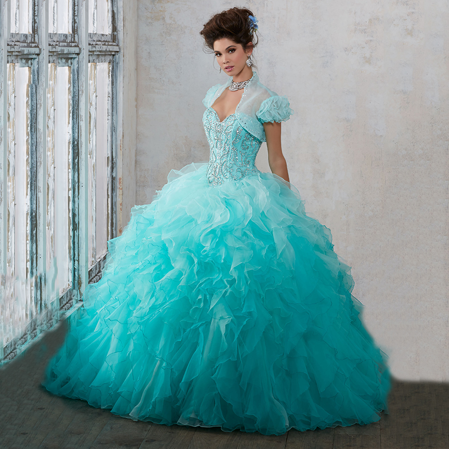 Two Colors Sweet 16 Dresses Cheap Masquerade Ombre Ball Gowns ...