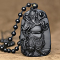 Natural Black Obsidian Carving Guan Yu Jade Pendant Necklace Mammon Guan Gong Lucky Amulet Gift For Men Jade Jewellery