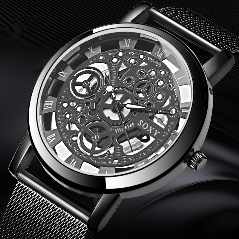 SOXY Skeleton Wrist Watch Men Watch Mens Watches Top Brand Luxury Hollow Out Men's Watch Clock Saati Relogio Masculino Relojes цена