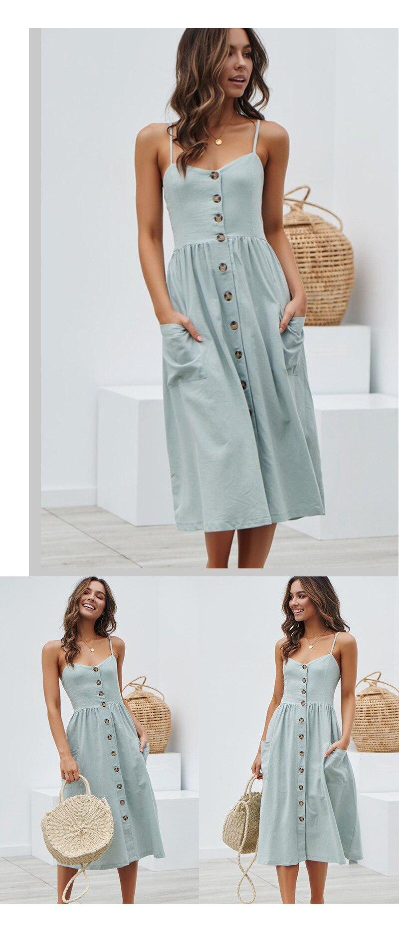 Button Striped Print Cotton Linen Casual Summer Dress 19 Sexy Spaghetti Strap V-neck Off Shoulder Women Midi Dress Vestidos 3