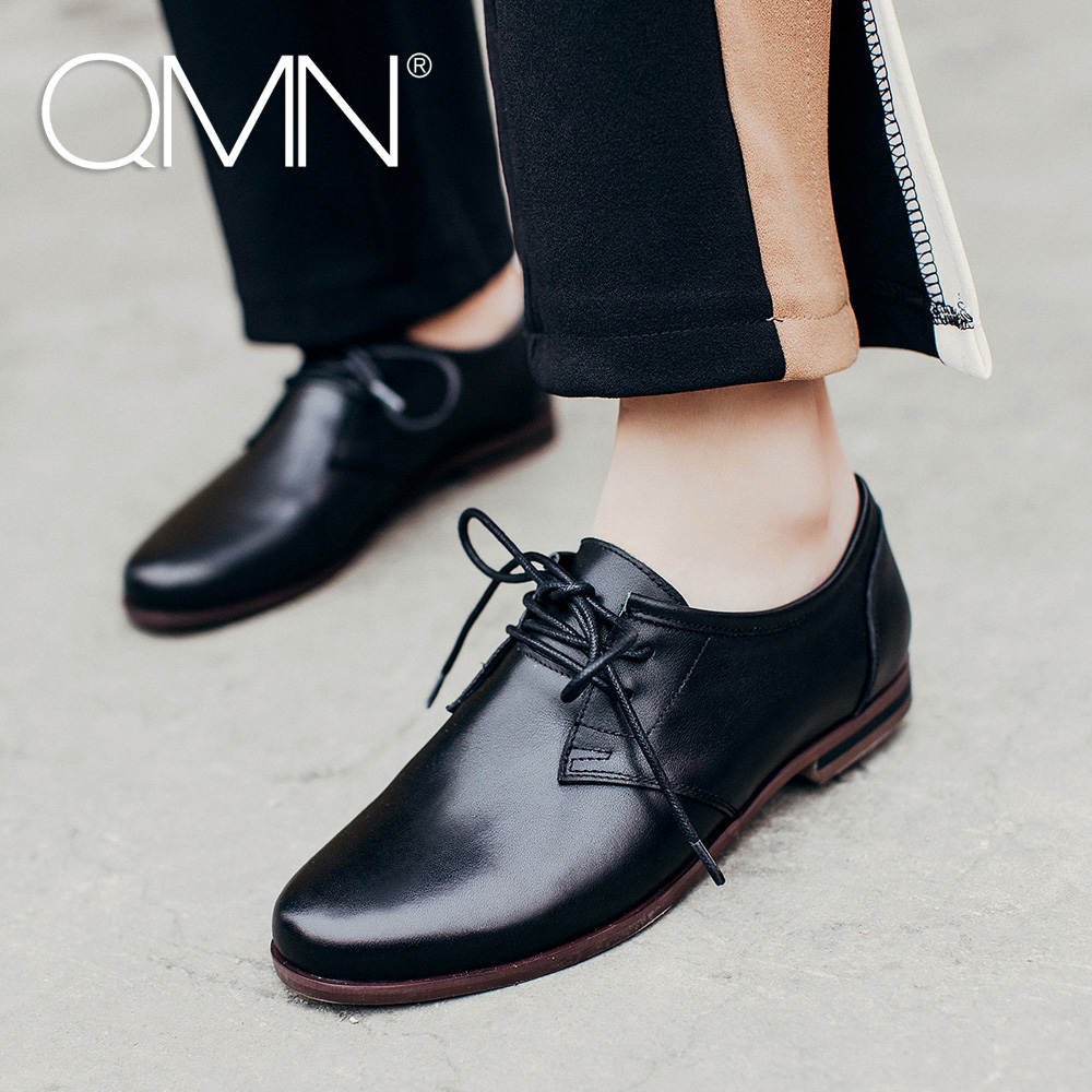 QMN women genuine leather flats Women Cow Leather Oxfords Retro Round Toe Brogue Shoes Woman Flats qmn women brushed leather platform brogue shoes women round toe lace up oxfords flat casual shoes woman genuine leather flats