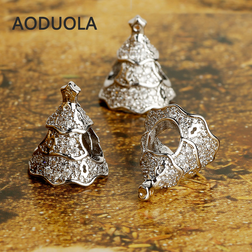 Silver Plated Alloy Christmas Tree Beads with CZ DIY Big Hole Metal Beads  Spacer Bead Charms Fit For Pandora Charms Bracelet-in Beads from Jewelry ... 113827527911