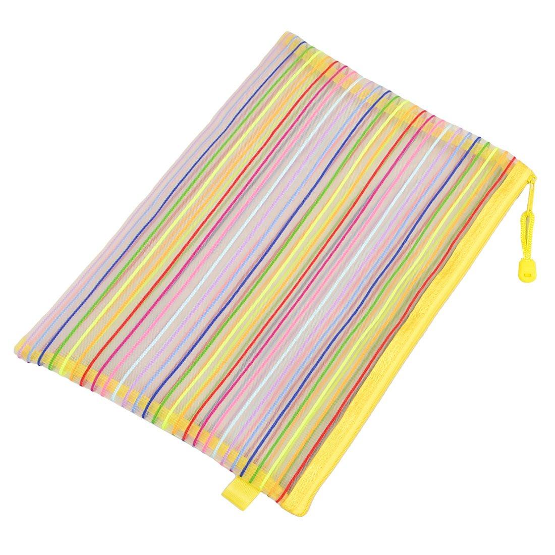Perfect- Zip Up Nylon Mesh Multicolor Stripes A4 Paper Documents Pen File Bag Folder
