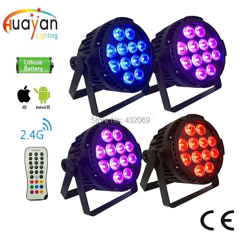 4 PCS/PACK 12x12 W 6in1 lampe LED étanche sans fil batterie Par lumière téléphone à distance APP WIFI contrôle extérieur LED scène lumières