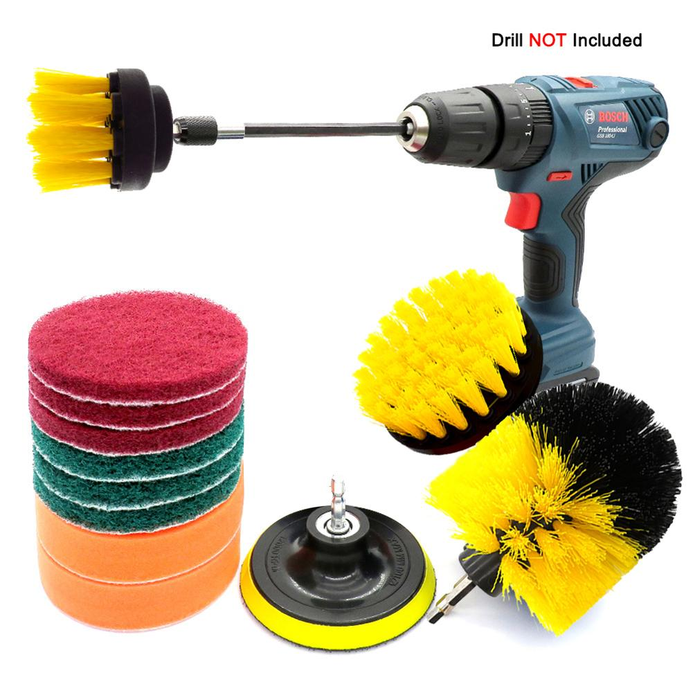 12PCS/3PCS Universal Car Plastic + Stainless Steel Electric Washing Brush Electric Drill Set For Car Bathroom Kitchen Cleaning